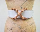 "Vintage 1980s Belt / 80s Paloma Picasso Ivory Leather Belt / 25"" - 28"" Waist"