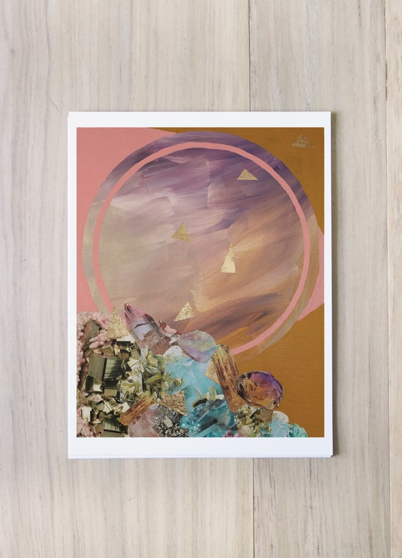 Digital Print - Mineral Moon - crystals orb hipster magical collage painting with Gold Leaf accents boho vibe geometric Natural earthy pink