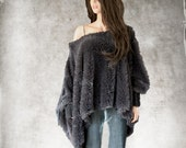 Cape faux fur/poncho gray women/cover up soft long hair