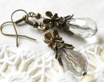 victorian crystal earrings crystal earrings clear dangle earrings brass earrings vintage style earrings