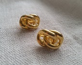 Valentines Day Vintage gold tone link style clip on earring