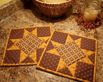 Quilted Pot holders, Quilted Hot pads, Trivets,Quilted Pot Holder, Cheddar and Brown