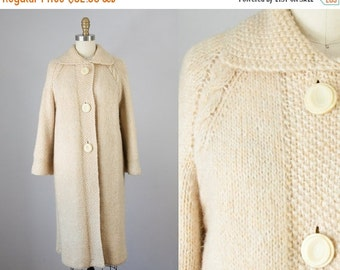 SALE 1960s Vintage Cream Wool Cable Knit Sweater Coat. 60s Knit Jacket (S, M)