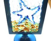 Sea Glass Starfish suncatcher mosaic in shades of Blue, Amber, Yellow, Green and White , E1578 from Seaham, UK - (NE England)