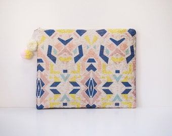 Ipad cover case geometric jacquard pastel fabric