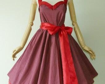 Bunny Maroon Little Star 50s Pin up Rockabilly Swing Dress Full Swing Skirt size SML
