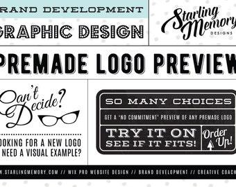 PreDesigned LOGO PREVIEW - PreMade Logo Preview - Logo Sample - Logo Sneak Peak - PreMade Logo Design - PreDesigned Logo Design