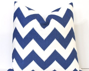 Royal Blue Chevron Decorative Designer Pillow Cover accent cushion natural geometric modern zig zag cobalt Adler azure beryl marine