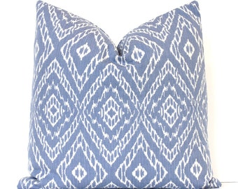 Light Blue Ikat strie Modern Decorative Designer Pillow Cover cushion White diamonds suzani geometric boho rain ocean sea Pantone serenity