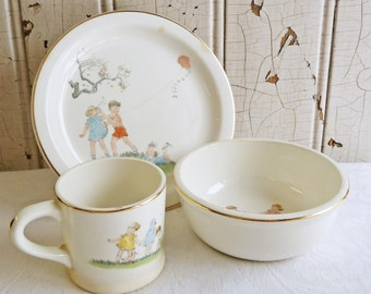 Vintage 1940s Child's Plate, Bowl and Cup Set - Sweet Graphics - Children Playing in a Park