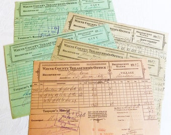 Vintage Delinquent Tax Payment Receipts from 1920s - Wayne County, Dearborn, Michigan - Lot of Five - Paper Ephemera - Scrapbooking
