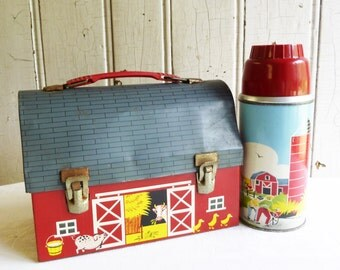 Vintage 1958 Red Barn Lunchbox and Thermos - Hard to Find Open Door - Thermos Brand - Mid-Century 1950s - Too Cool for School!