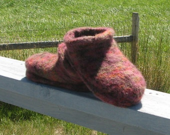 Knitted Felted Marbled Mauve Clog Slippers Womens Size 8