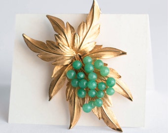 Large Flower Statement Brooch Pin Gold Tone Green Glass Beads Mid Century Retro Jewelry Bridal Gift For Her