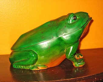 Frog, Vintage, Large Figural Teak Wood Painted Container, 10 Inches, 2 Pieces, Décor, Decorative Trinket Box, Stash Box, Animated, Colorful