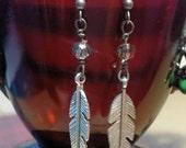 Silver, Feather earrings, Beach, BOHO style, One of a Kind, Dangle Earrings, Free Spirit, Gypsy, Bohemian Style, Earrings, Artist Style