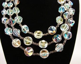 Vendome Crystal Necklace, Triple Strand, Vintage Necklace, AB Crystals, Flower Clasp, 10MM Crystals, Vintage Jewelry, Multi Strand Necklace