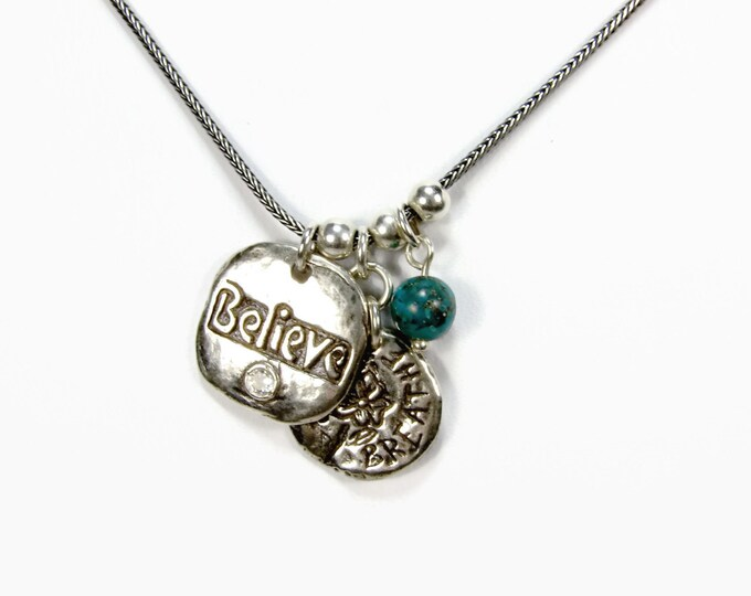 Didae Israel Believe SHABLOOL Sterling SIlver Charm Necklace