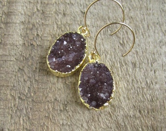 Round Druzy Earrings, Drusy Quartz Drops, Gemstone Earrings, Raw Stone Earrings, 14K Gold Fill