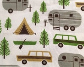 Retro Campers - Flannel Fabric -  BTY