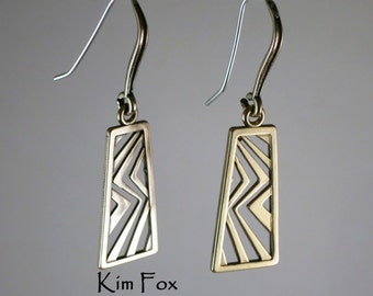 Asian Style Rectangular Dangling Earring in Golden Bronze by Kim Fox