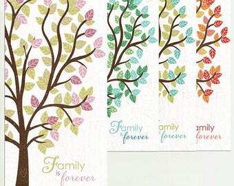 Family Is Forever, Family Tree Art, Family Wall Art, Seasons Wall art, Family Art