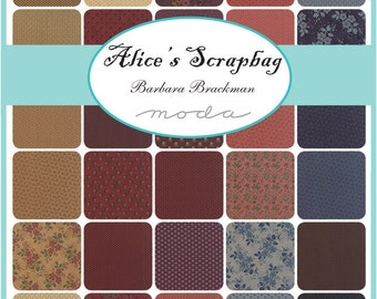"Moda Alice's Scrapbag Charm Pack, (42) 5"" Quilt Fabric Squares byBarbara Brackman Quilting Sewing"