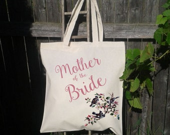 Mother of the Bride, Mother of the Groom Tote Bag, Gift Bag, Personalize for free, Birds and Flowers