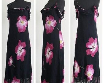 60% OFF Vintage 1990s Black Floral Chiffon Rayon Sheer Layer Maxi Dress Reformation Romantic L/XL (F)