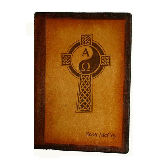 Leather Hand Finished Medieval Celtic Yin Yang New Testament