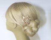 Wedding Bridal Birdcage Veil and a Bridal Hair Comb Champagne - (2 Items)   Rhinestone Bridal Hair Comb Bridal Jewelry