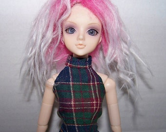 Pullip clothes - blue and green plaid halter top