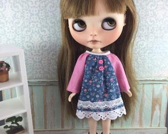 Blythe Long Sleeve Smock Dress - Pink and Blue
