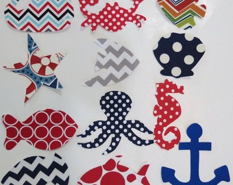 12 Nautical Sea Life Iron on Appliques Baby Shower Activity