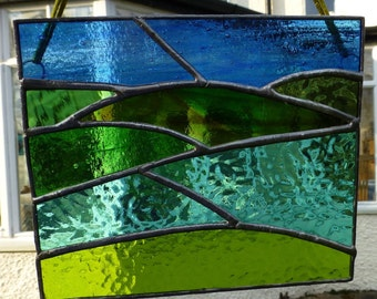 Stained Glass Landscape with Mountains and Lakes Light Catcher