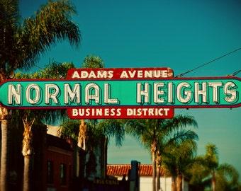 Normal Heights Neon Sign Photo - San Diego Neighborhood - Adams Avenue Sign - Fine Art