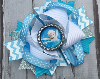 NEW ITEM Boutique Baby Girls Layered Disney Movie Frozen Elsa Hair Bow..Elsa Hair Clip. Perfect for Disney Photo Props Birthday bow