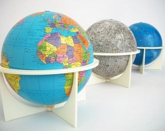 Vintage Trio - Earth, Moon, and Celestial Globes by Replogle c 1970s