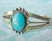 Vintage Bell Trading Post Navajo Sterling Silver Turquoise Cuff Bracelet