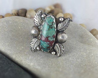Sonoran Sunrise Ring, Sonoran Sunset Ring, Natural Chrysocolla Cuprite Mineral, gemstone ring, sterling silver ring