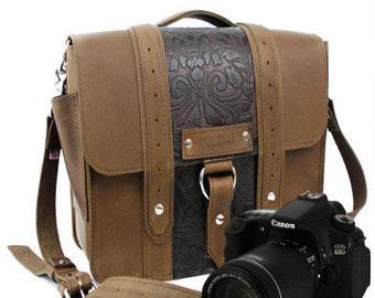 """10"""" Brown and Brown Paisley Napa Safari Leather Camera Bag - 10-AS-BRBP-SMCAM"""