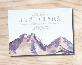 Watercolor Mountain Wedding Invitation Save the Date  - Printable digital file or printed invitations
