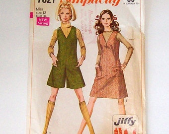 1968 Simplicity 7821 pattern size 12 jumper and mini-pant jumper complete