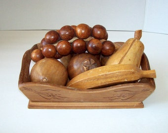 Vintage wood fruit decor in a wooden tray 9 piece set