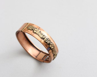 vintage Art Nouveau copper and brass bracelet - 30s copper bangle / Floral Garland - ornate antique jewelry / 30s hinged copper bracelet