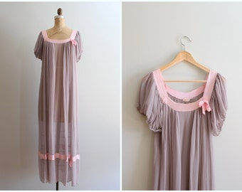 1930s silk chiffon dressing gown - sheer dove gray dress / Nat Lewis - New York / 30s sheer nightgown - maternity gown - boudoir photography