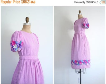 SALE / vintage Belle France - Jane Schaffausen dress - pinstriped floral border dress / 80s dolly dress - lolita dress / Sweet Kawaii dress