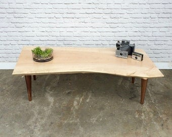 Live Edge  Curly Maple Coffee Table - #261