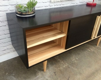 Kasse Credenza / TV Stand - Solid Maple - Ebony/Clear Finish