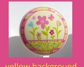 1 (one)  HAPPY FLOWERS Yellow Print kids girls baby mtm bedding set Dresser Drawer Knob